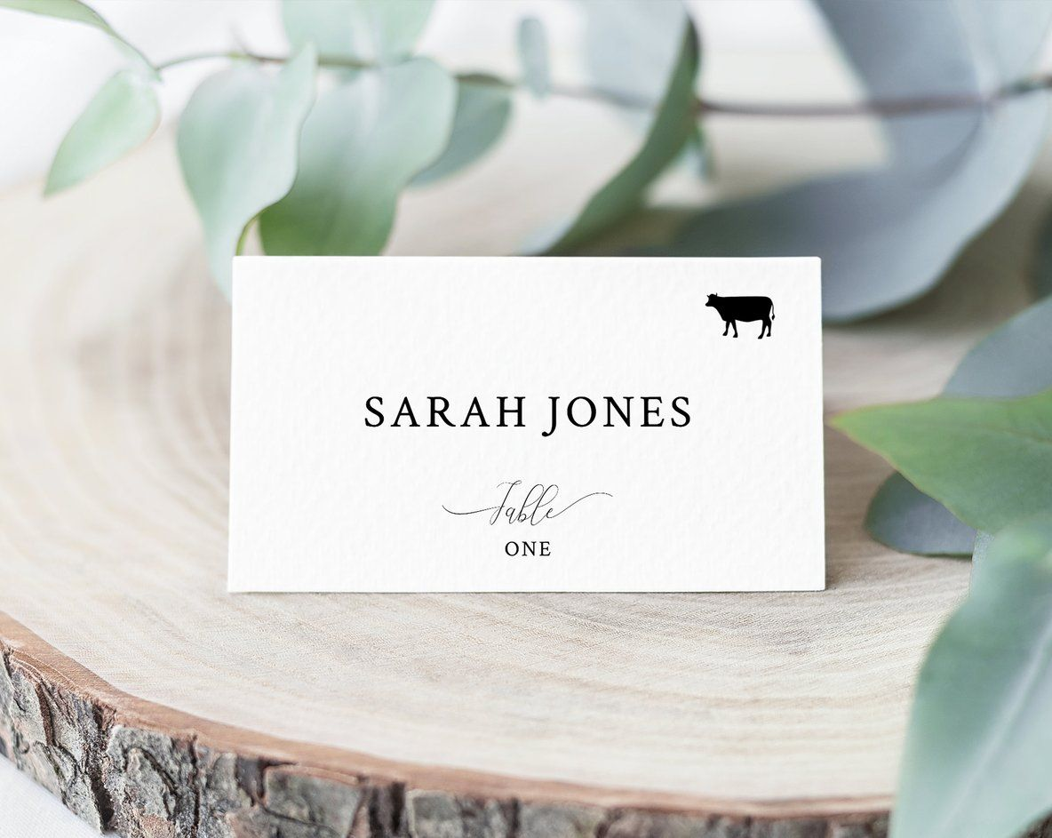Wedding Place Cards Template With Meal Choice Selection Seating Card Wedding Table Cards Printable Instant Download Templett W31 Wedding Table Name Cards Card Table Wedding Wedding Place Cards