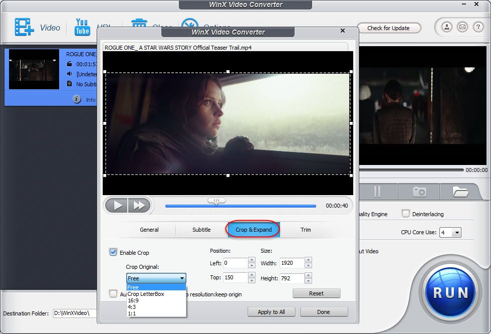 free crop video on windows with WinX Free Video Converter