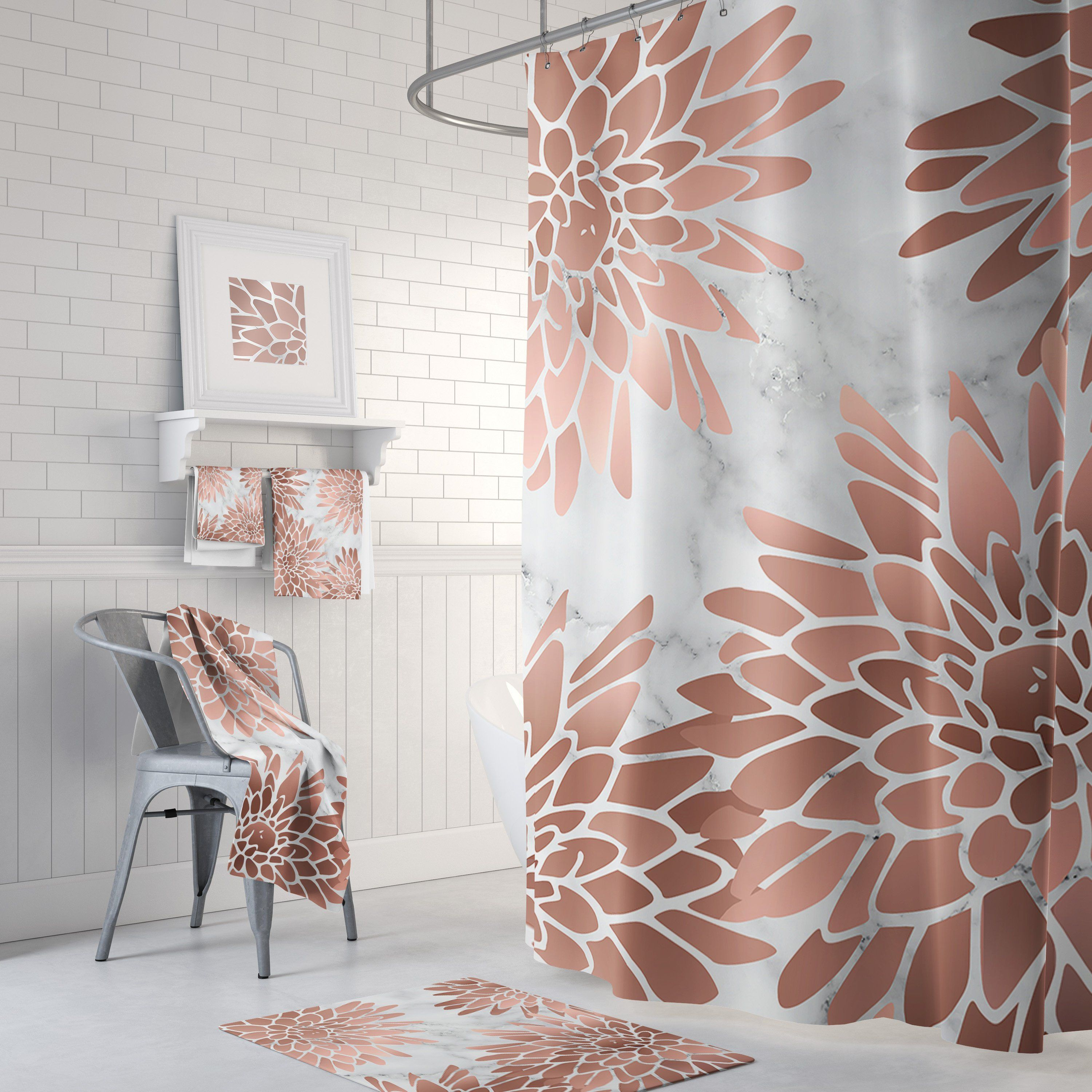 Floral Rose Gold Pink And White Shower Curtain With Etsy White