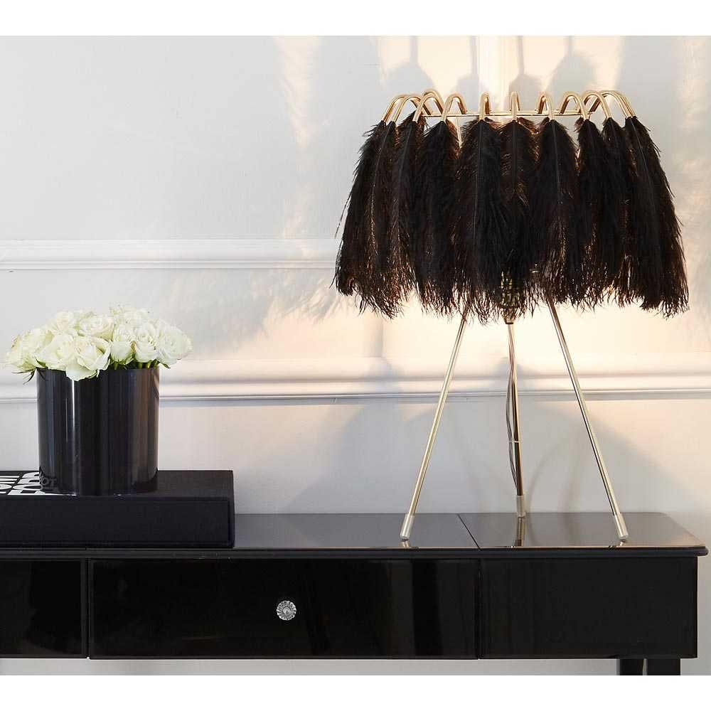 Plumage Black Feather Table Lamp Feather Light Gold