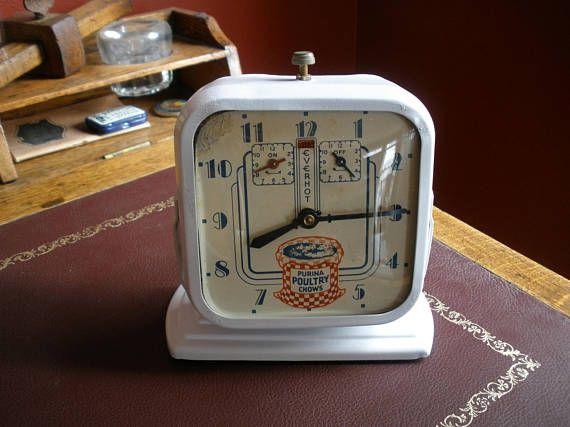 1930s Purina Poultry Chow Timer Clock Original Advertising Purina Poultry Timer Clock Advertising Clocks