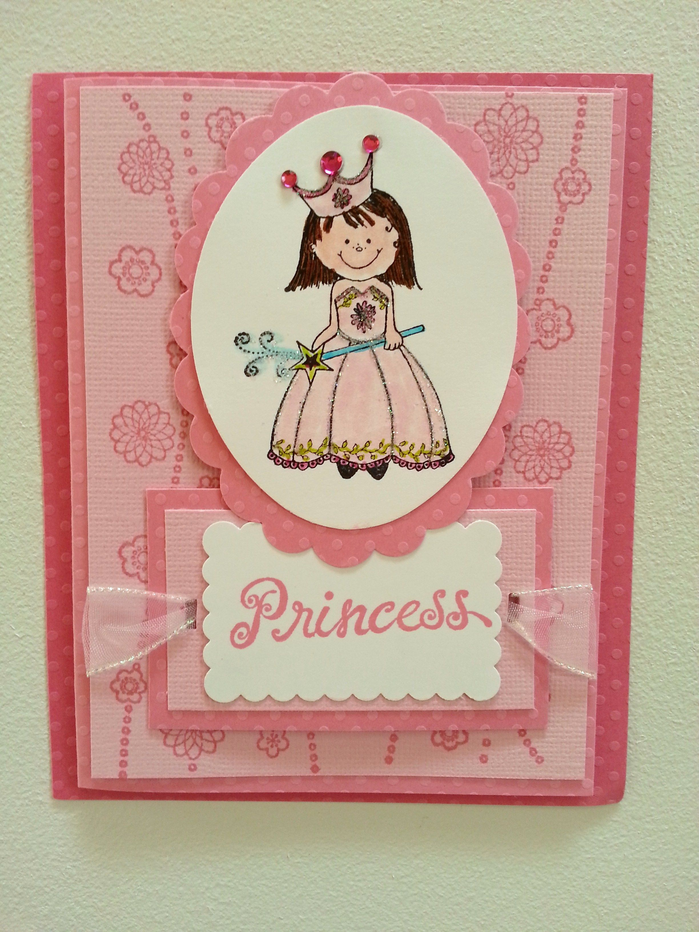 5 1 2 X 4 Handmade Birthday Card For Little Girl Princess Stamped And Decorated With Ribbon Bling Glitter Inside Message Dreams Are Wishes Of