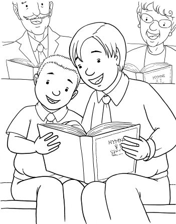 An illustration of two brothers sitting together in a pew