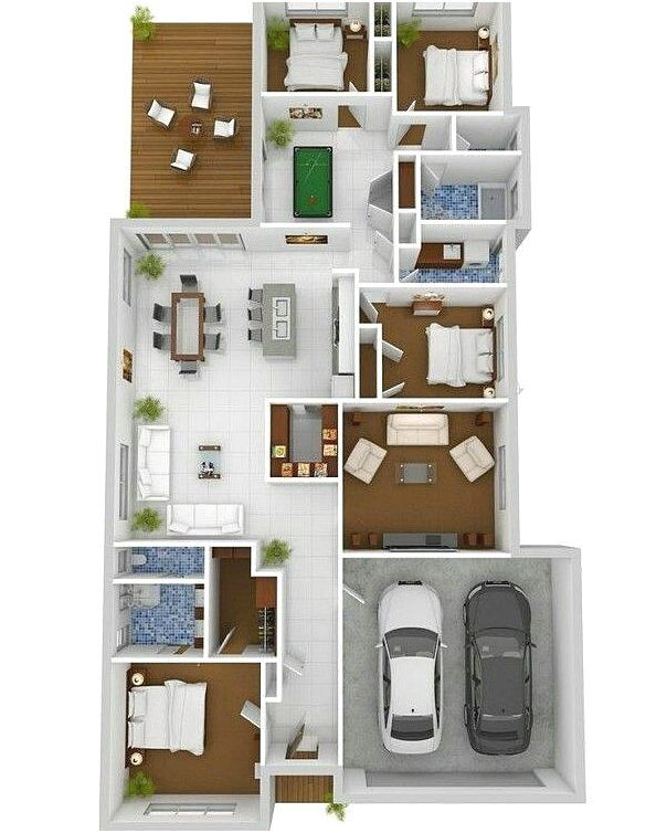 Denah Rumah 4 Kamar : denah, rumah, kamar, Gambar, Denah, Rumah, Minimalis, Kamar, Tidur, Rumah,