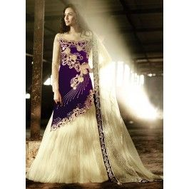 Purple and Cream Trail Velvet Embroidered Lehenga