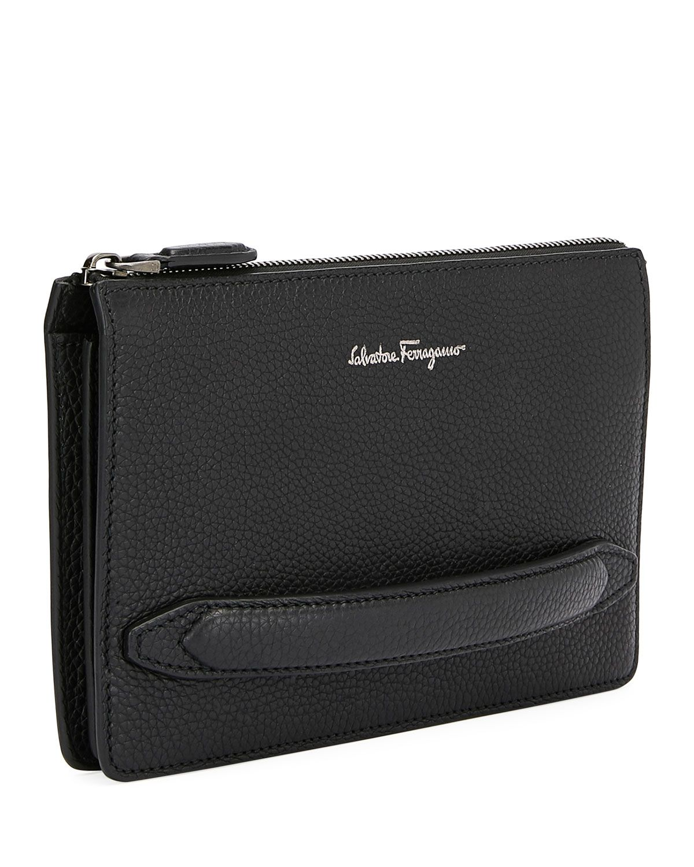 Salvatore Ferragamo Men s Firenze Leather Pouch with Handle ... 4779c997b5