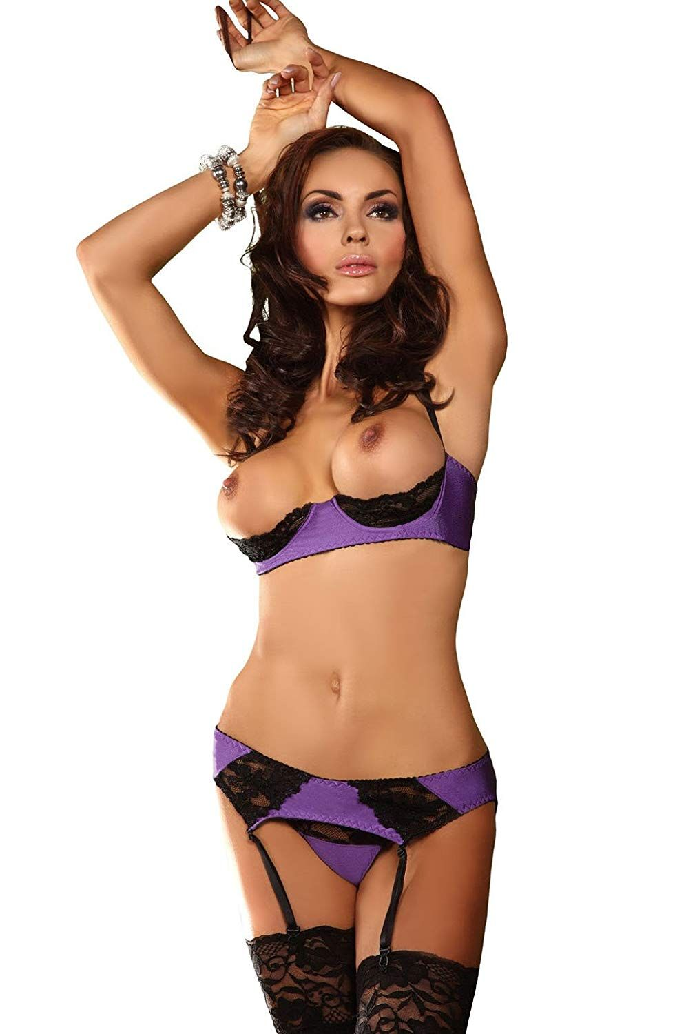 dc1c64ccfb Sexy Purple Black Bra Set Underwire Open Cup Bra Suspender Belt with Thong  Bra Bottom Lace