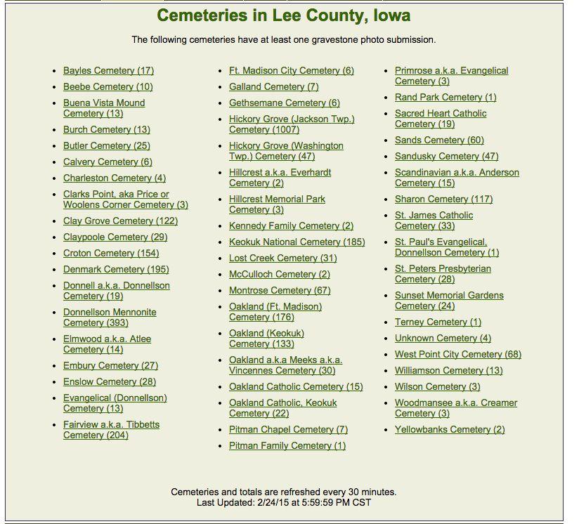 Lee county iowa cemeteries lee county cemeteries