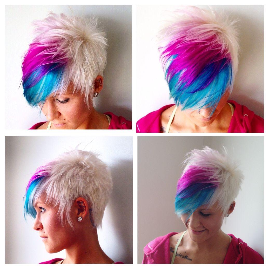 Rainbow pixie  Hair styles, Short hair styles, Short hair color