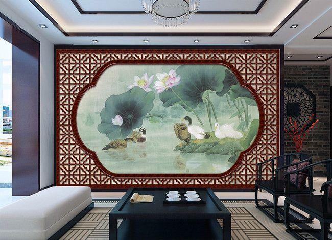 tapisserie trompe l il effet 3d fen tre asiatique les lotus dans l 39 tang avec les oiseaux. Black Bedroom Furniture Sets. Home Design Ideas
