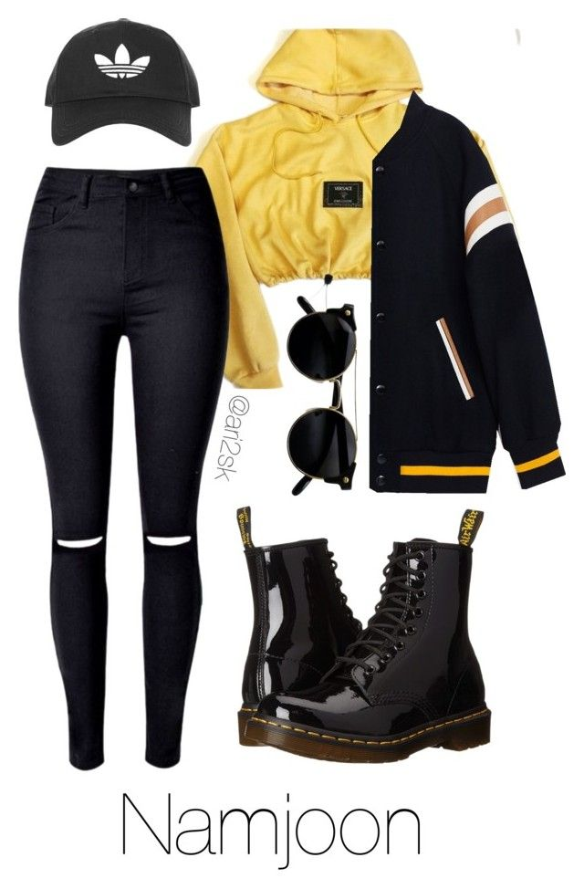 """""""Hanging out - Namjoon """" by ari2sk ❤ liked on Polyvore featuring Versace, Dr. Martens and Topshop"""