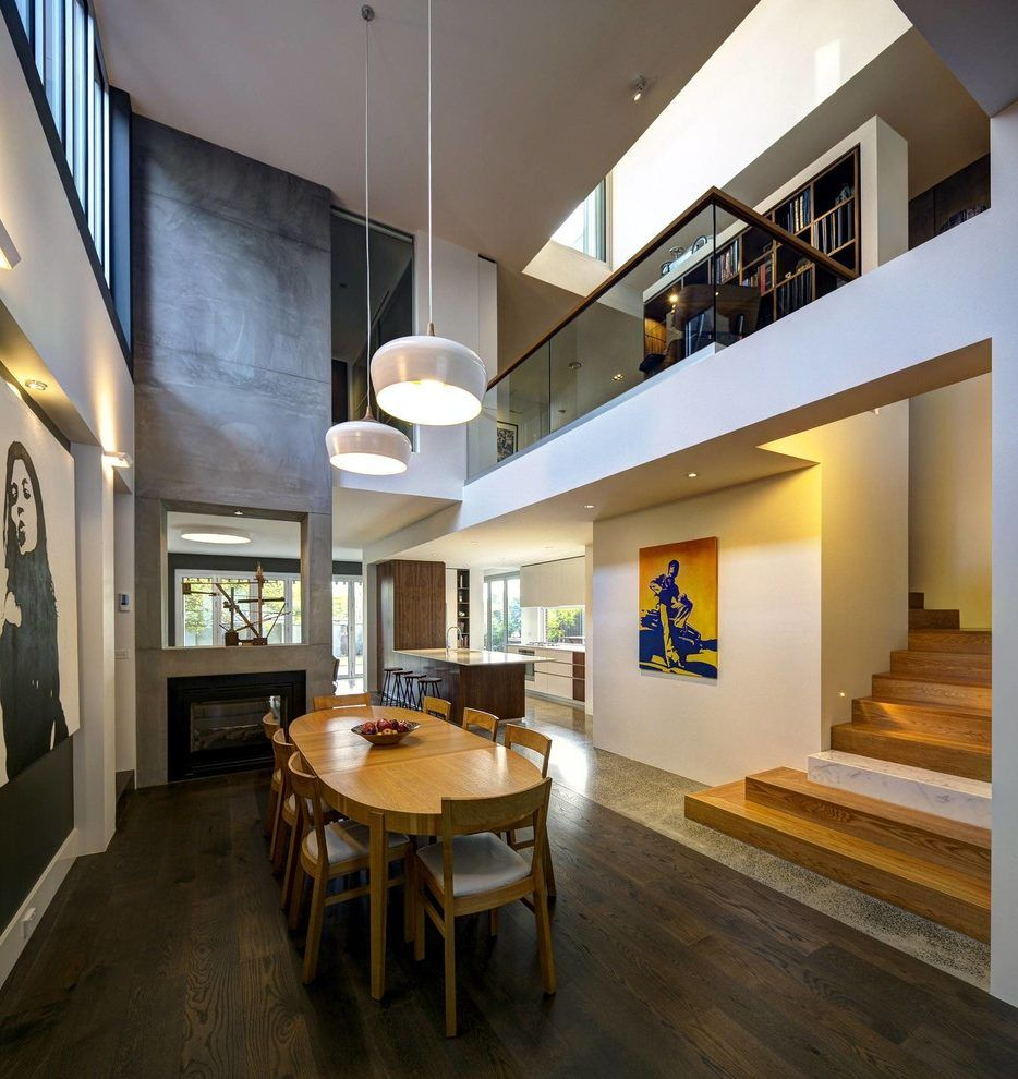 Double Height Stair Wall Design Dining Room Contemporary With Pendant Light Wooden Table