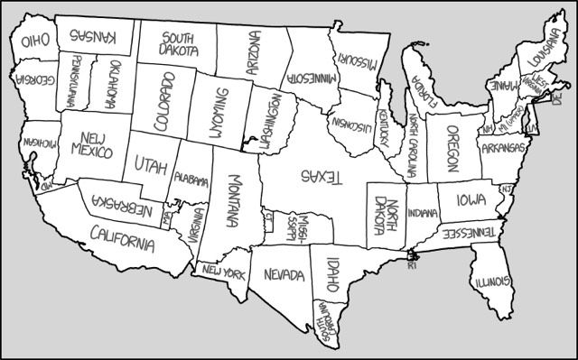 Randall Munroe has made a map of the United States with all of the