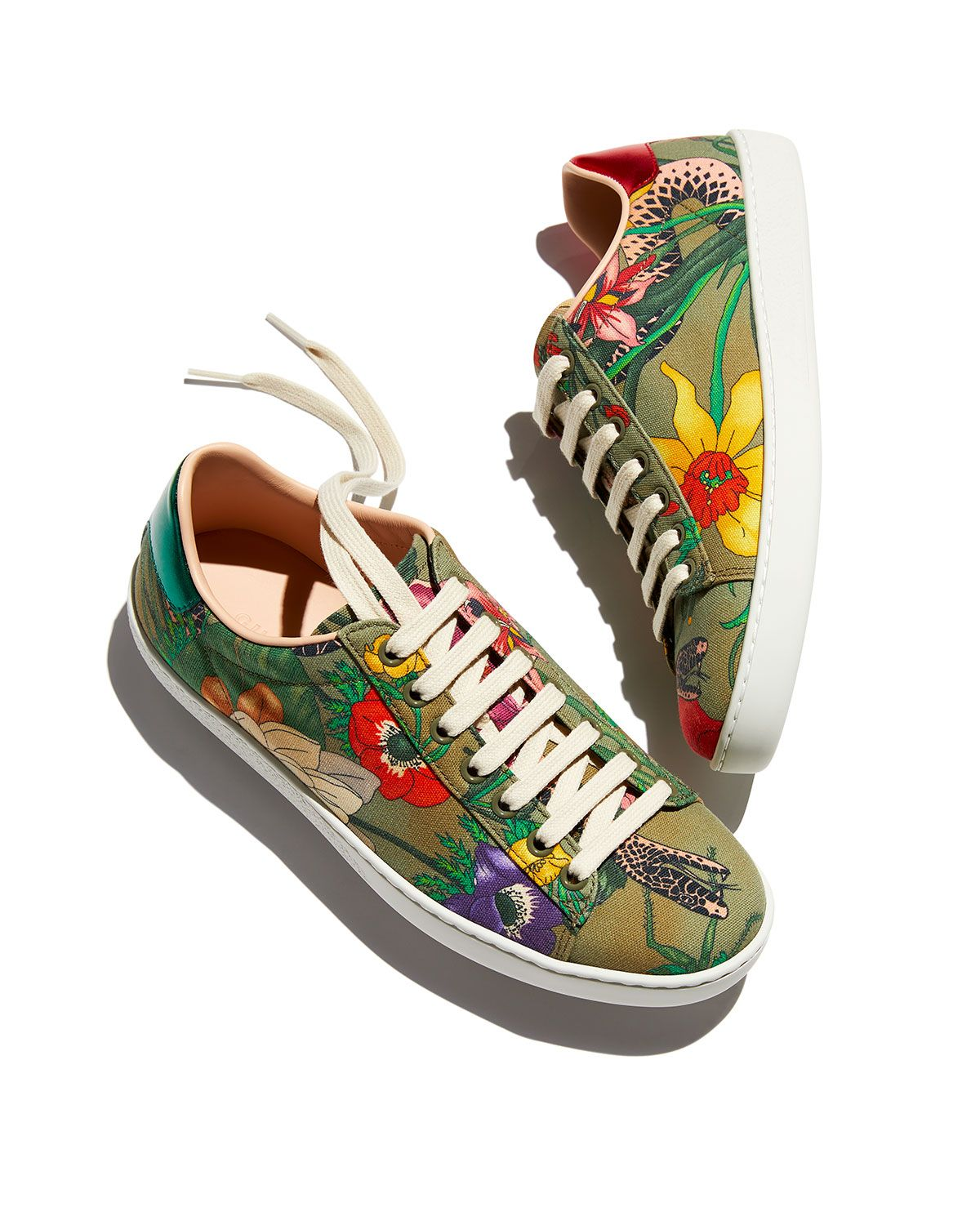 Gucci New Ace Floral Canvas Trainer