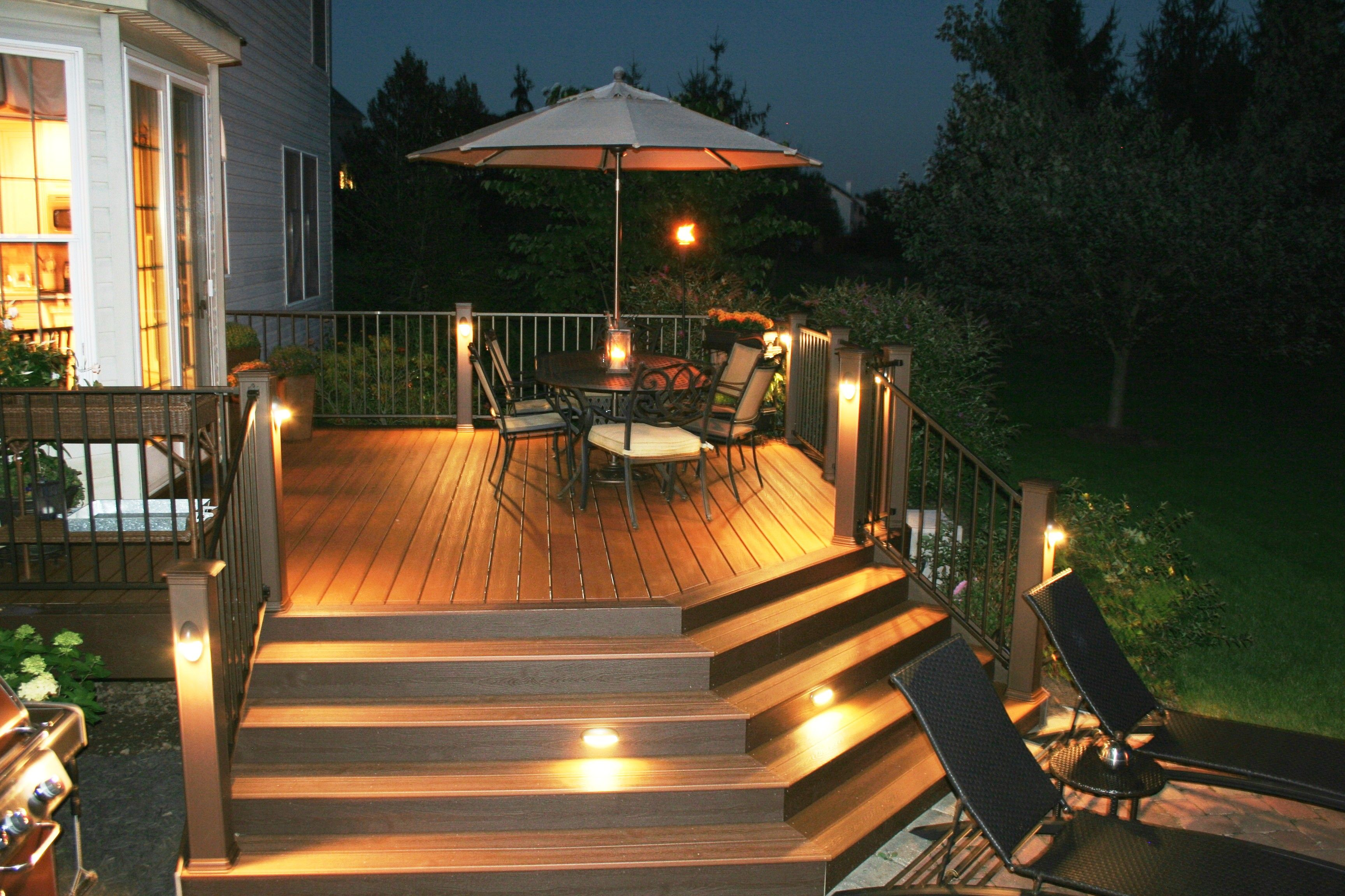 trex deck with stair riser and accent lights archadeck of bucks
