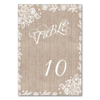 Delicate Lace Burlap Rustic Wedding Table Numbers Card