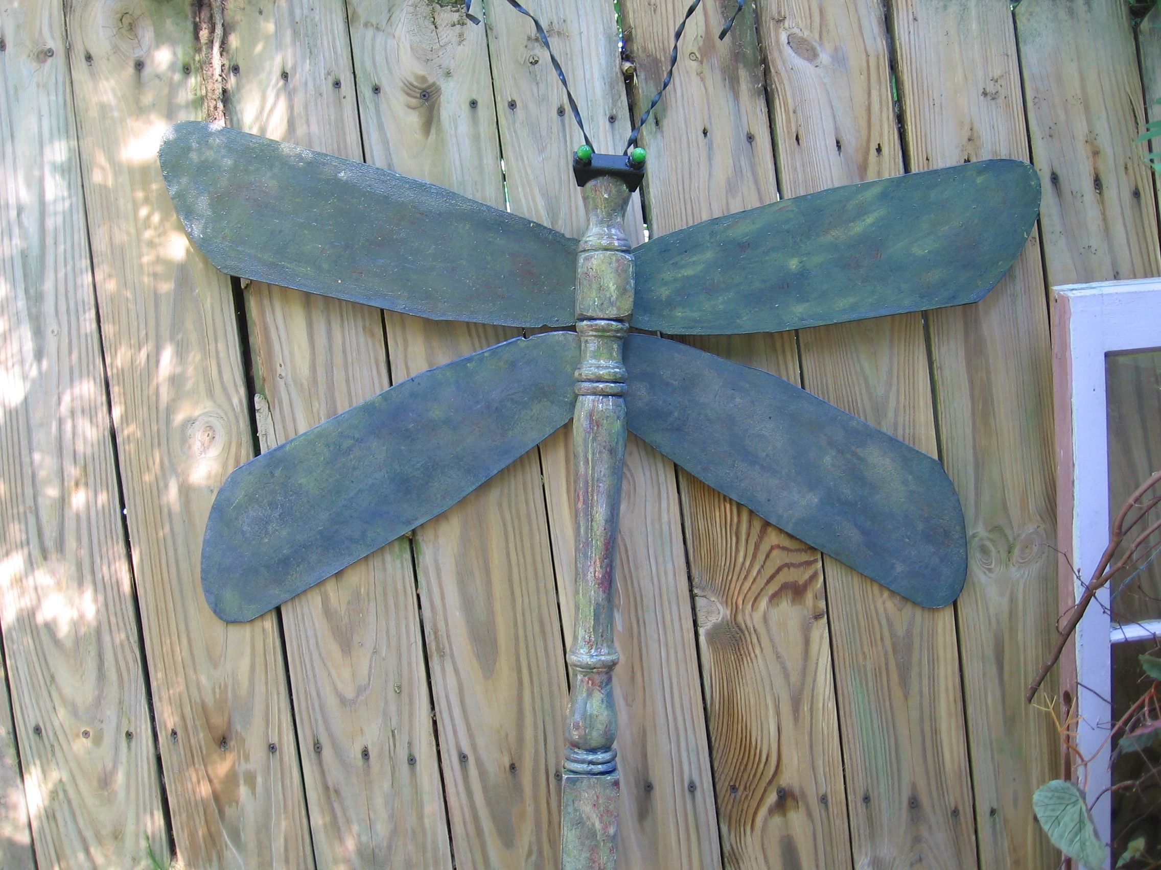 Dragonfly Made From Ceiling Fan Blades And Table Leg