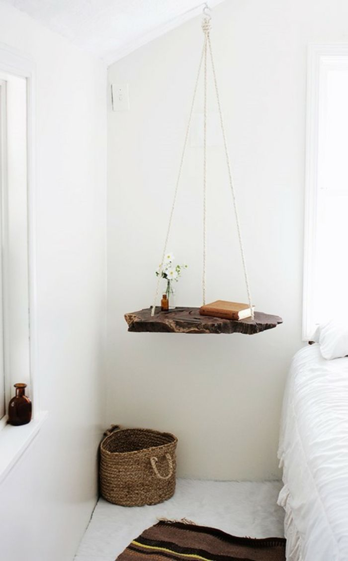 Hängender Nachttisch diy ideen nachttisch selber bauen hängend holz rustikal decor