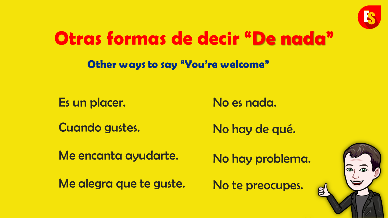 How To Say You Re Welcome In Spanish Without Saying It Otras Formas De Decir De Nada En Esp Spanish Phrases High Frequency Words French Language Learning