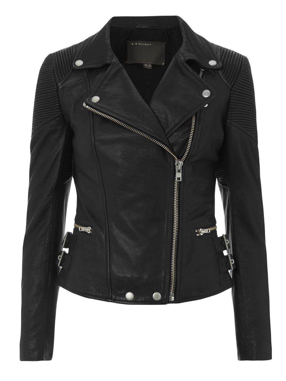 Horana Black Corded Leather Biker Muubaa leather jacket