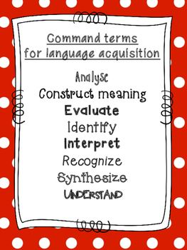 IB MYP command terms for Language Acquisition (International