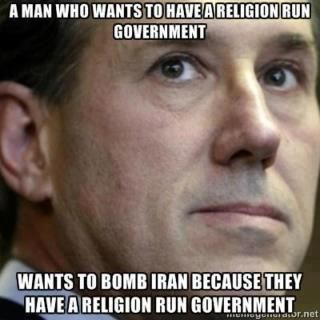 """Santorum. Funny how easy it is for many members of the GOP to forget that minor """"separation of church and state"""" detail our country was founded upon."""