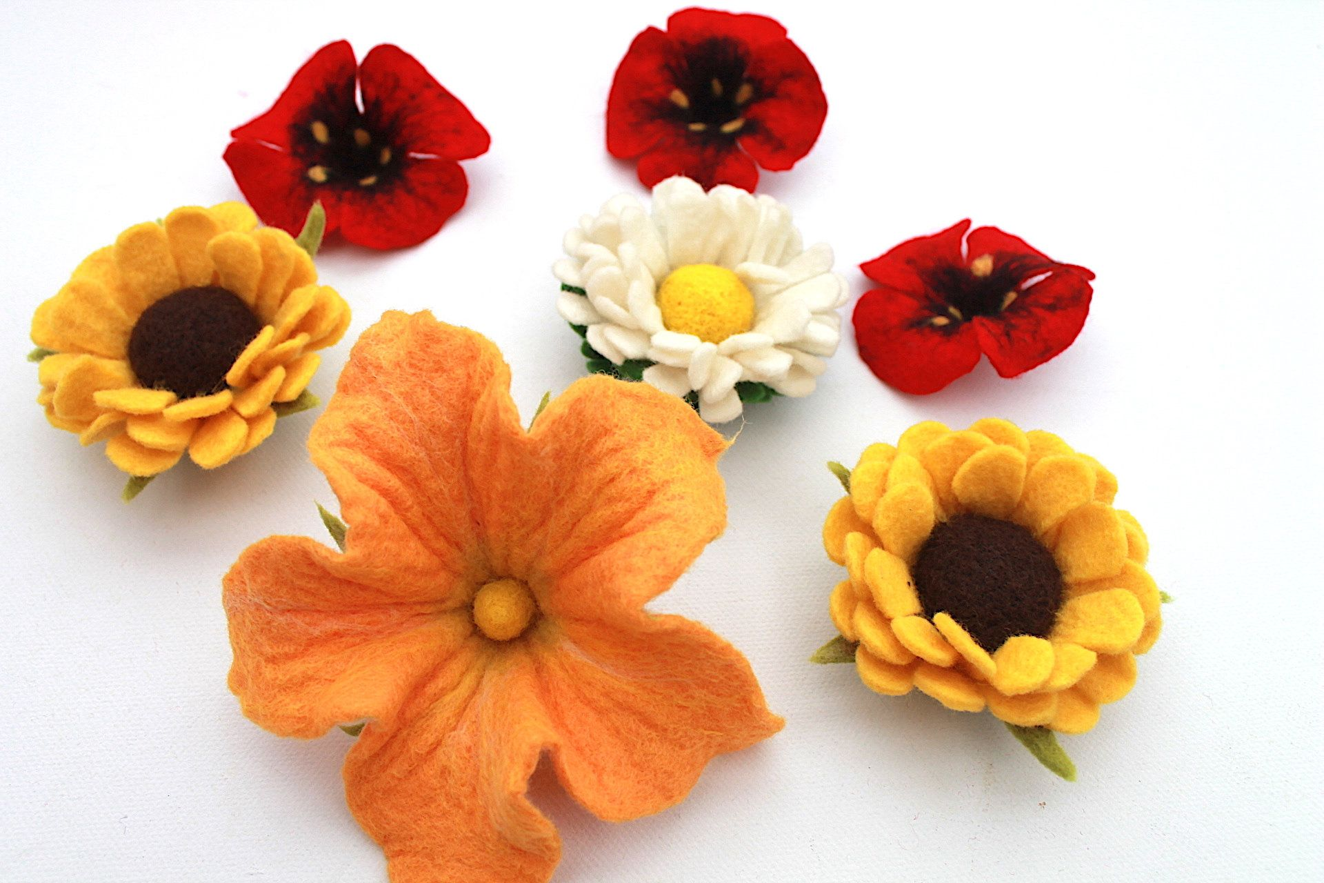 Set Of 7 Magic Felt Flowers For Making Poppies Daisies