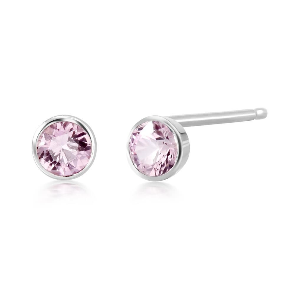 14a625fb5 14k White Gold genuine baby pink Sapphire bezel Stud earrings, carat total  weight 0.25,