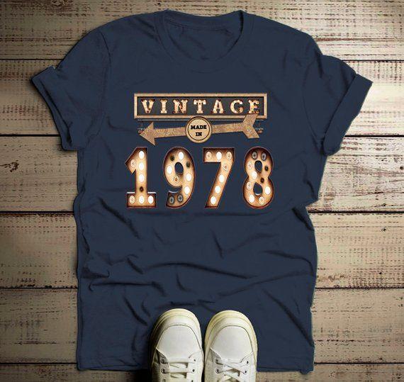 3a3d41026 Men's Vintage T Shirt 1978 Birthday Shirt 40th Birthday Tee Light Bulb  Marquee Sign Retro Gift Idea