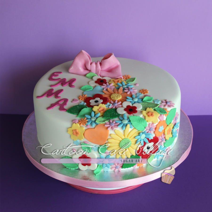 Spring Flower Cake By Eliana Cardone Cartoon Cake Village Flower