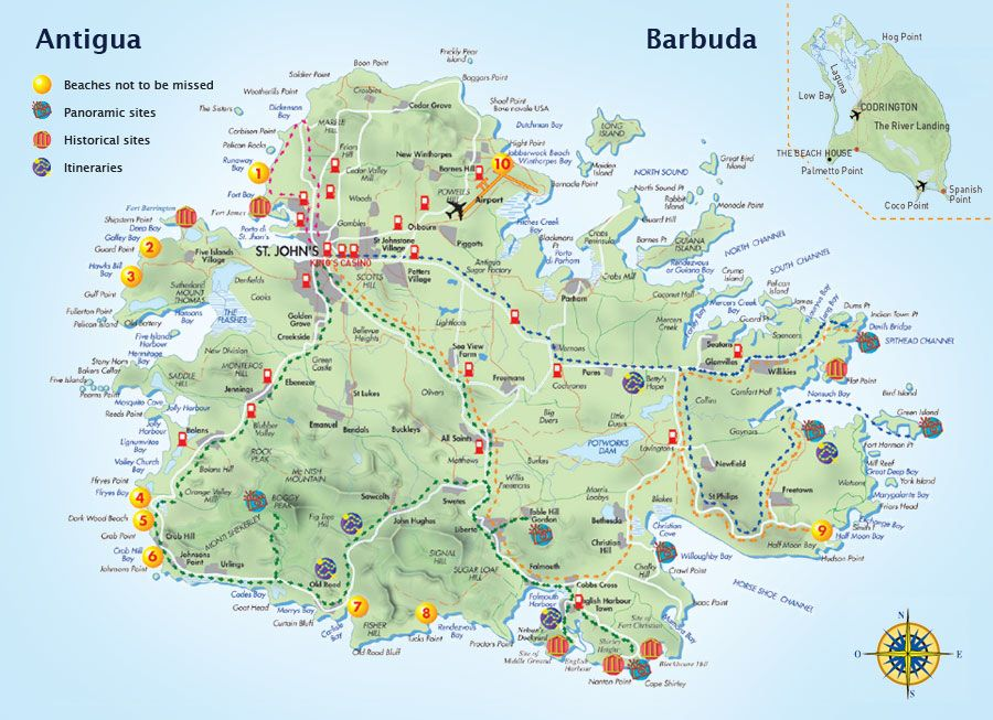 Map With Points Of Interest Antigua And Barbuda Honeymoon - Antigua and barbuda map