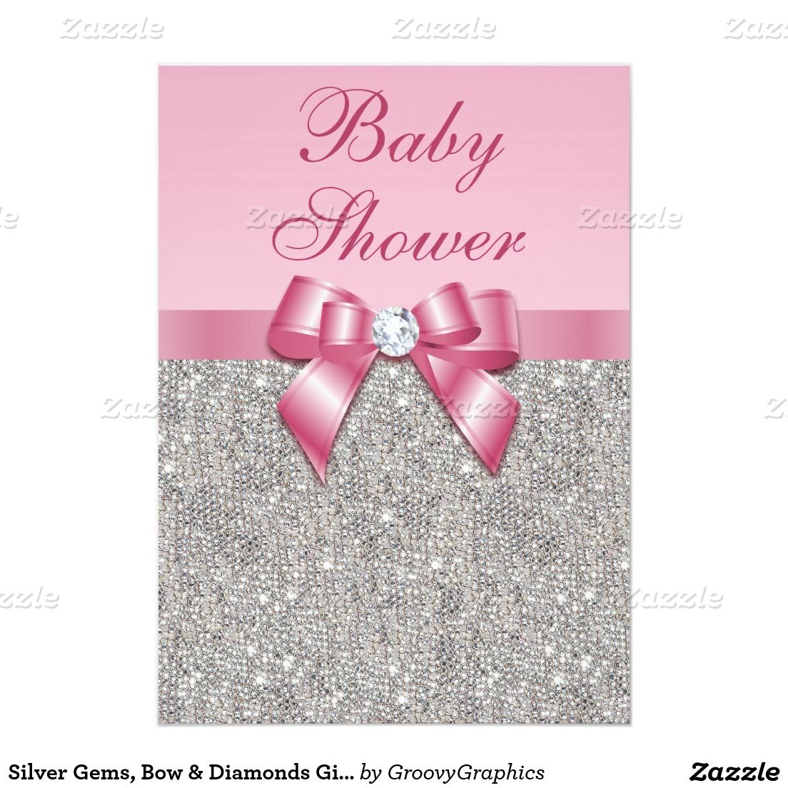Silver Gems, Bow & Diamonds Girls Pink Baby Shower Card | Babies ...