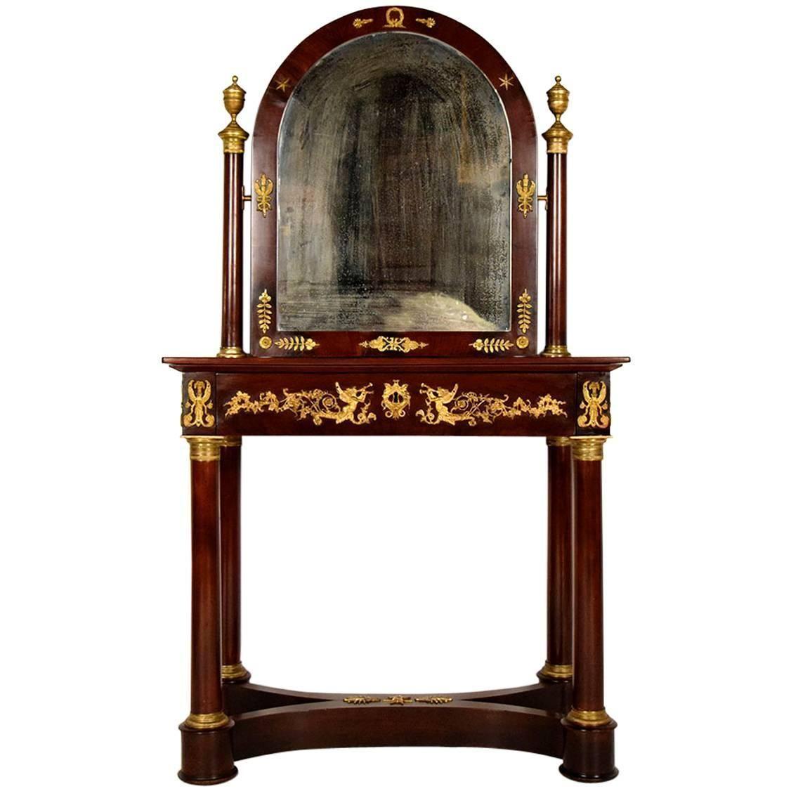 19th Century French Mahogany Empire Vanity Table with Mirror