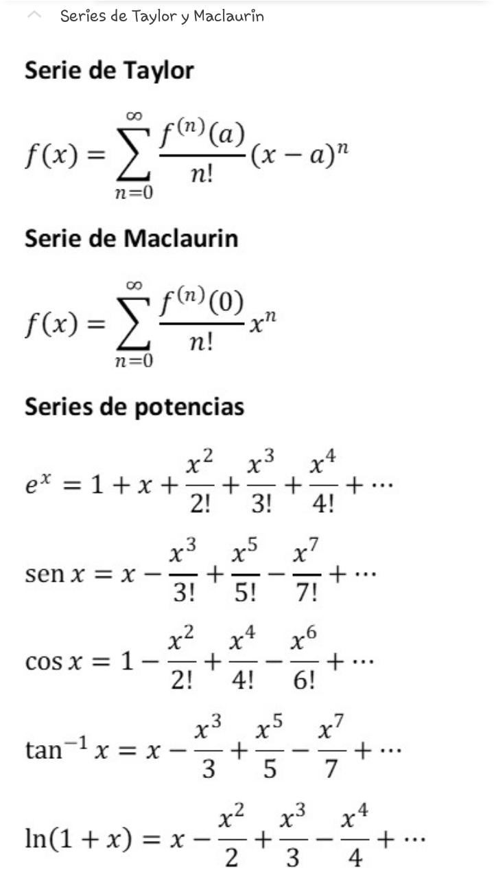 Algebra Series De Taylor Y Maclaurin Matematicas Universitarias Curiosidades Matematicas Formulas Matematicas
