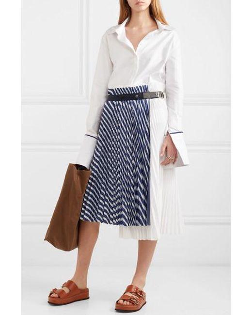 26bbb409cb48 Women's Blue Pleated Striped Cotton-poplin Wrap Skirt in 2019   Skirts
