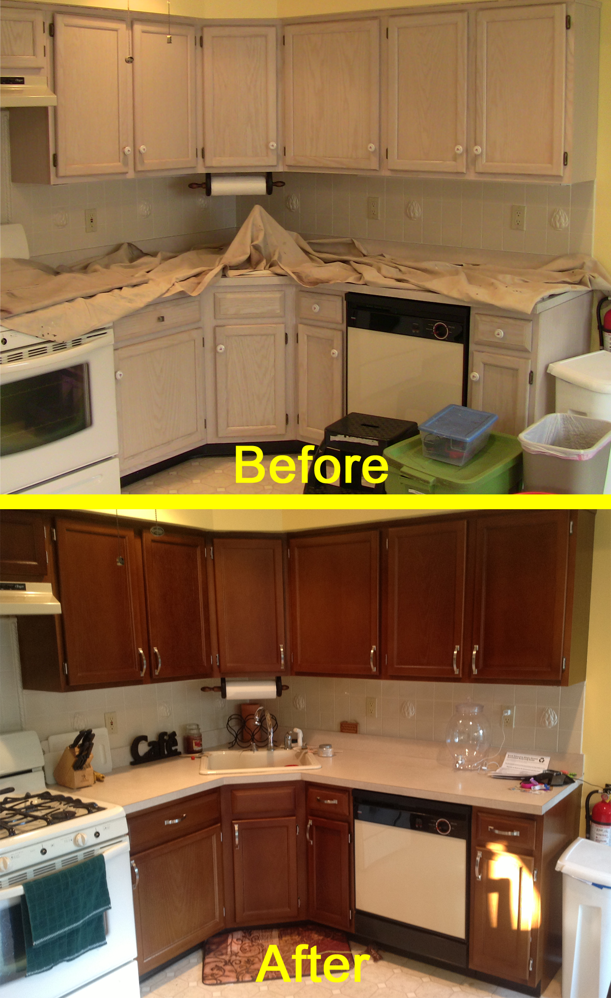 Here S Our Kitchen Before And After The N Hance Wood Color Change Process Please See The Full Revi Kitchen Cabinets Before And After Kitchen Kitchen Cabinets