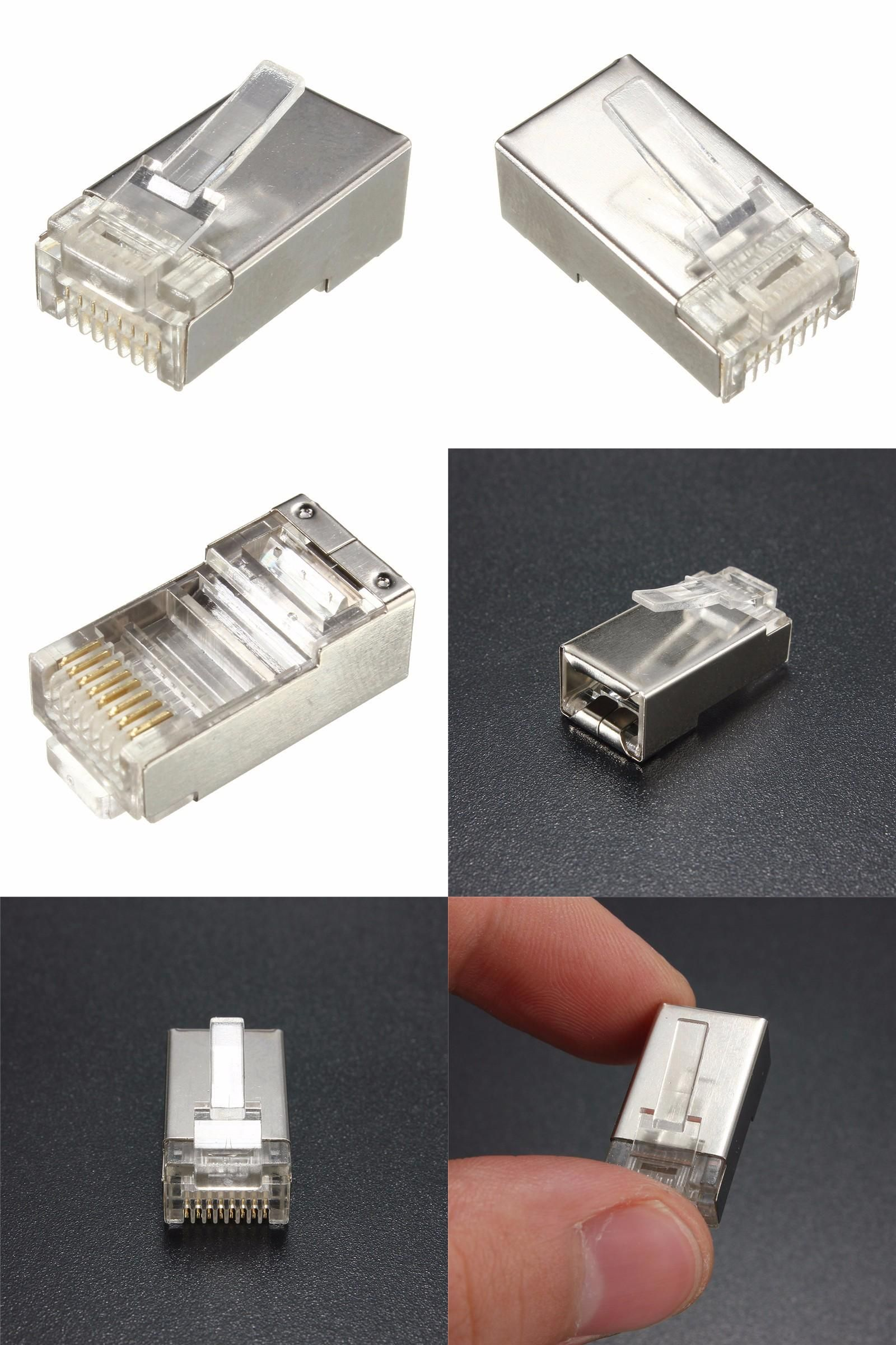 Visit to Buy] 5Pcs Crystal Head Network Cable Connector Metal Shield ...