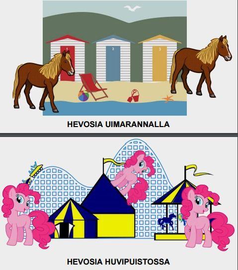 vuorovaikutteinen tarina: hevoset karkuteillä.   Tarinassa hevoset ovat karanneet ja ne pitäisi löytää. Yhdistä oikeat hevoset oikeisiin paikkoihin. Kehittää mm. muistia ja kuvanlukutaitoa.