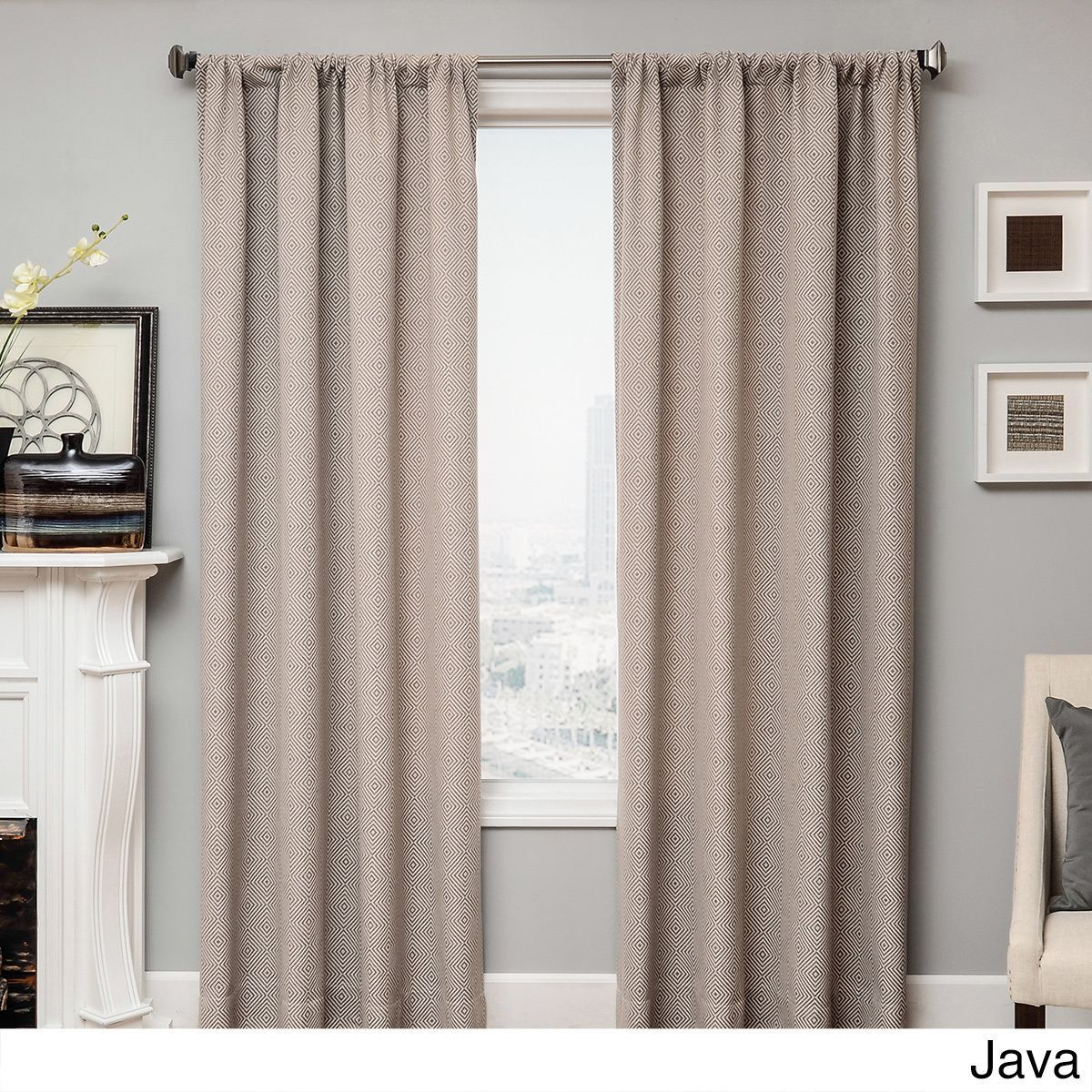 Softline Diamond Rod Pocket Curtan Panel (55X108 Java), Grey, Size 55 x 108 (Cotton, Geometric)
