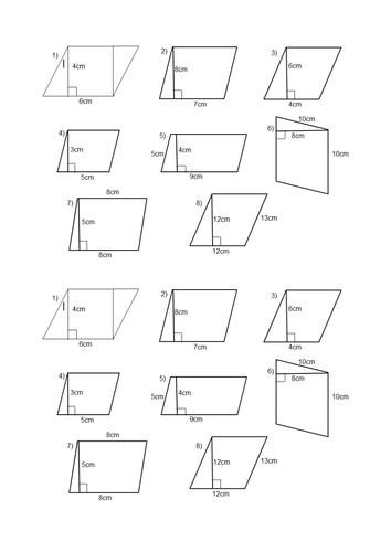 Image Result For Area Of Parallelogram Worksheet Math Practice Worksheets Geometry Worksheets Worksheets