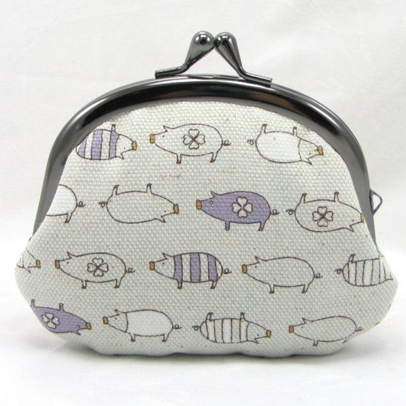 Coin Purse - Lavender Pigs