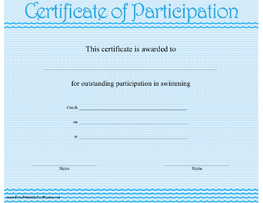 A Certificate Of Participation With A Wavy Blue Design In