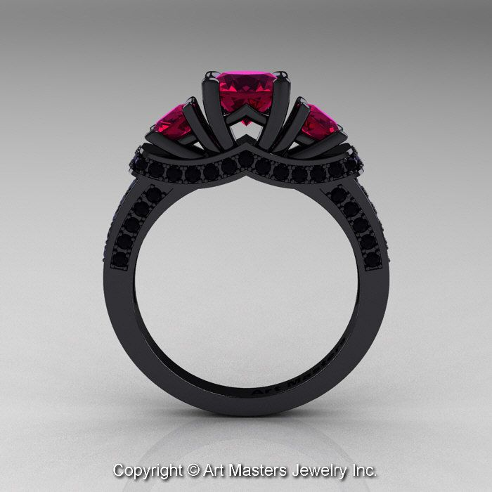 Exclusive French 14k Black Gold Three Stone Raspberry Red Garnet Black Diamond Enga Blue Sapphire Wedding Ring Black Diamond Ring Black Diamond Ring Engagement