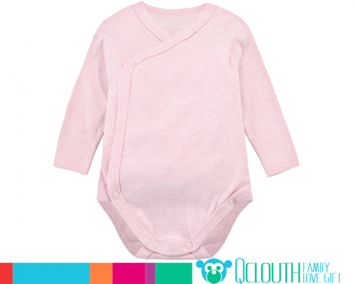 Organic Cotton Infant Baby Onesies Double Long Sleeve Plain Pink ...