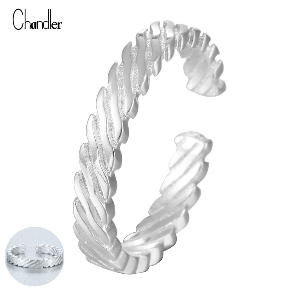 sterling silver wavy surface open ring simple nail finger