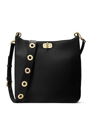 fc83f0d2348d Michael Kors Sullivan Black Leather Turn-Lock Closure Large Messenger Bag   Doris Daily Deals  Bonanza www.bonanza.com listings 426342378