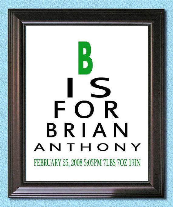 Eye Chart Baby Boy Nursery Wall Name Art Print - 8x10