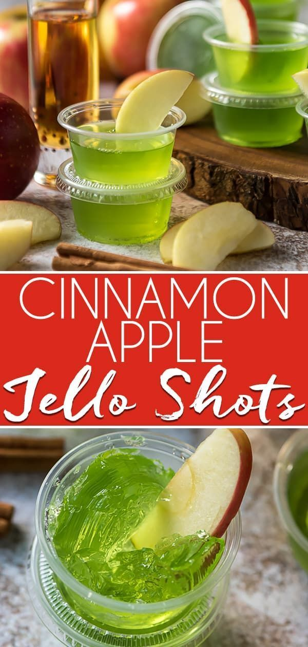 Cinnamon Apple Jello Shots #jelloshots These fun, spicy Cinnamon Apple Jello Shots are a seasonal twist on a party favorite! Skip the vodka and opt for cinnamon whiskey paired with green apple gelatin for this crowd pleasing recipe! #crumbykitchen #jelloshots #cinnamon #apple #cocktails #jello #fireball #whiskey #partytreats