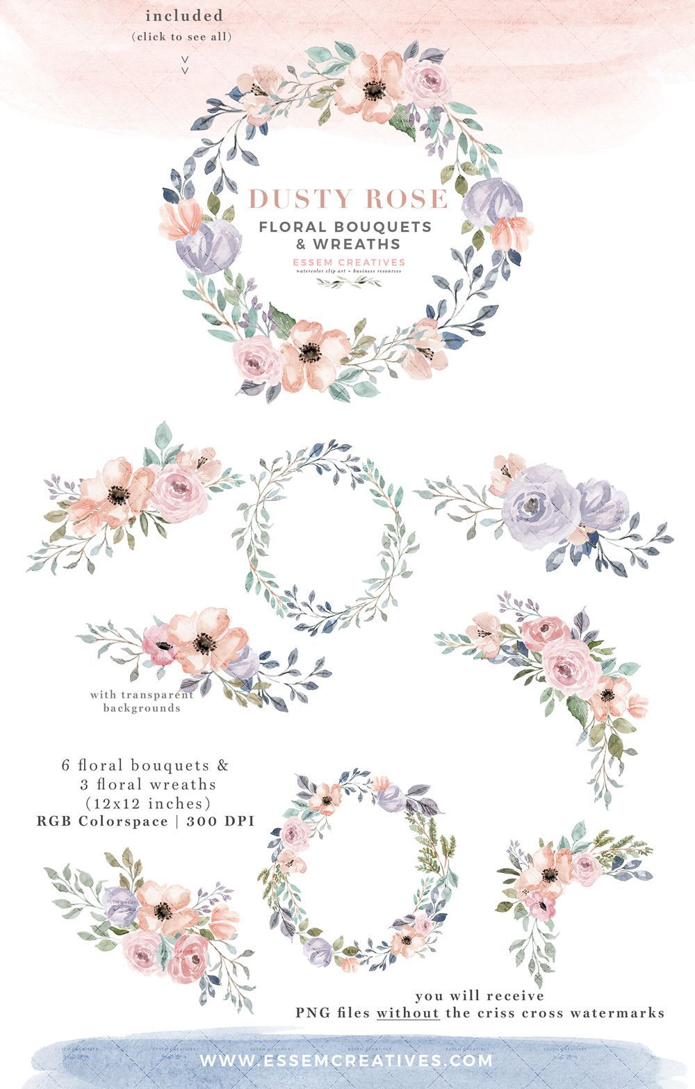 Flower Bouquets Dusty Peach Wedding Clipart Hand Painted Floral Clip Art Watercolor Floral Clipart Set Pink /& Navy Flowers Floral PNG