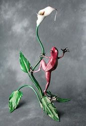 "Quillan bronze frog, "" Pistil Pete "". Signed limited edition of 700 with 70 artist proofs available. Cute Magenta frog looking at Calla Lily. Approximately 28 x 20 x 17 inches w/hand applied patina for a lustrous finish."